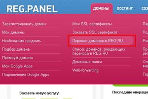 сменить регистратор домена