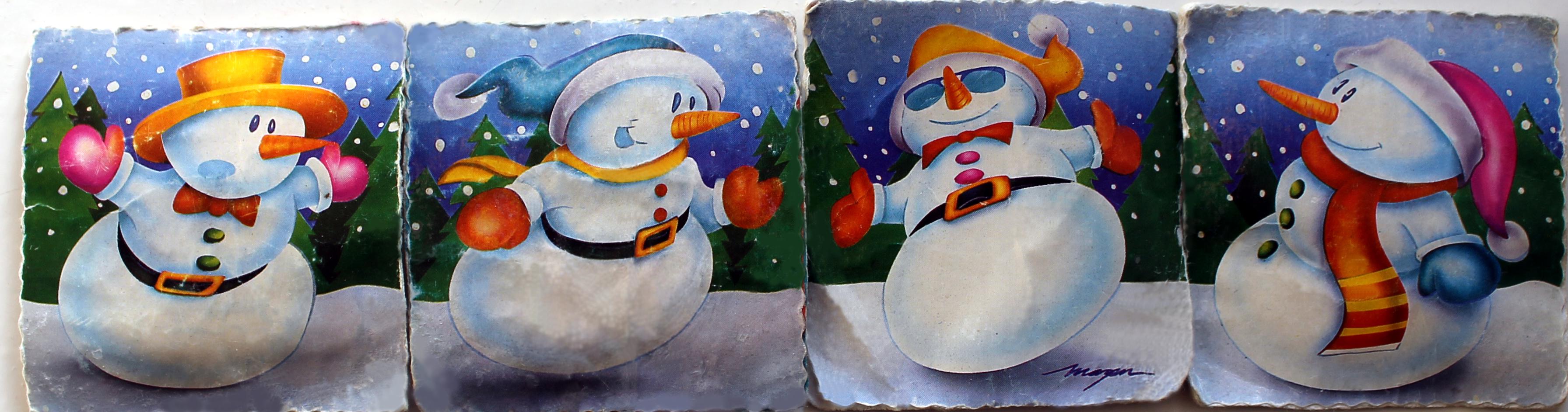 наклейки снеговики набор